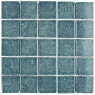 SomerTile 12x12-inch Paradise Palm Green Porcelain Mosaic Floor and Wall Tile (Pack of 10)