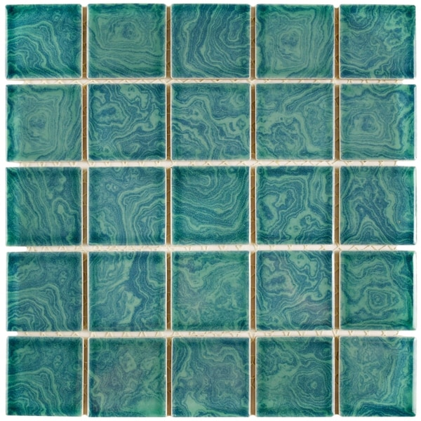 Somertile 12x12 inch paradise palm green porcelain mosaic for 10 inch floor tiles