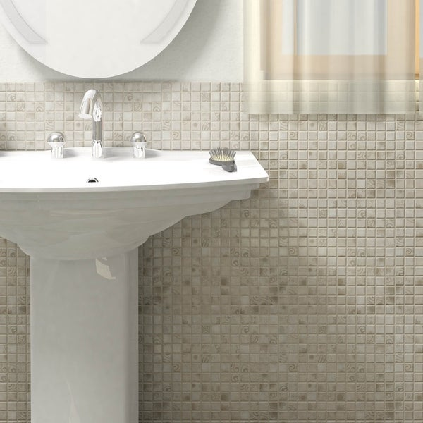 SomerTile 11.625x11.625-inch Lace Grey Porcelain Mosaic Floor and Wall Tile (10 tiles/9.59 sqft.)