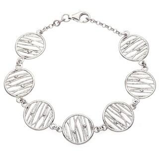 La Preciosa Sterling Silver Diamond-cut Circles Bracelet