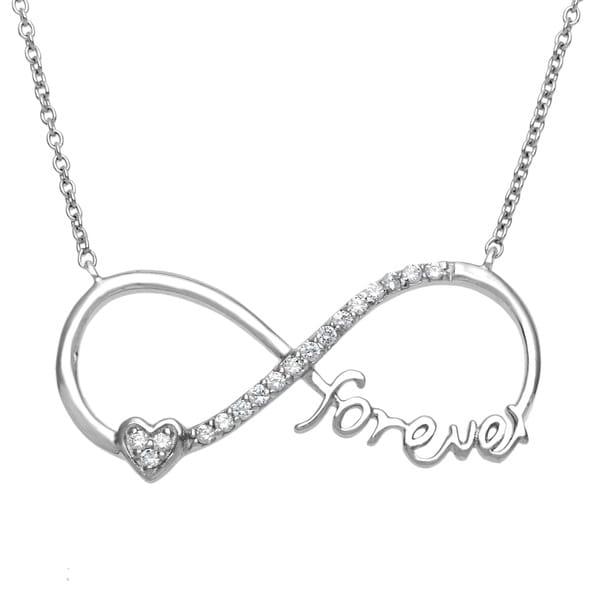 """Shop La Preciosa Sterling Silver Heart """"Forever"""" Cubic ..."""