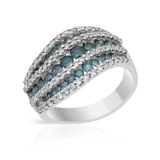 14k White Gold 2ct TDW Blue and White Diamond Ring (H-I, SI1-SI2)