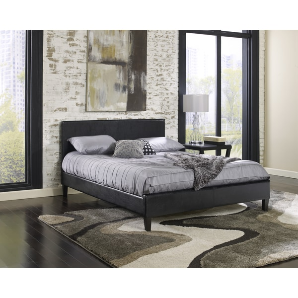 Sleep Sync Beaumont Upholstered Black Leather Complete Platform Bed Free Shipping Today