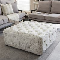 Gracewood Hollow Clare Patterned Modern Linen Tufted Ottoman