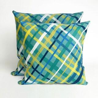 Mad Plaid 2 Aqua 20-inch Decorative Pillows (Set of 2)