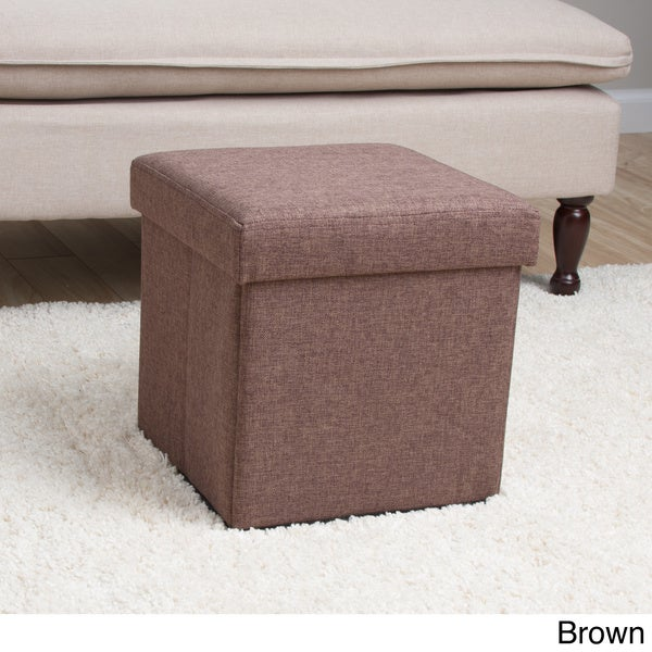 Square Folding Fabric Storage Ottoman   Free Shipping On Orders Over $45    Overstock.com   15927197