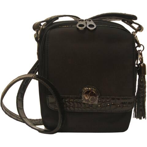 Concealed Carrie Concealed Firearm Microfiber Crocodile Embossed Leather Crossbody Bag