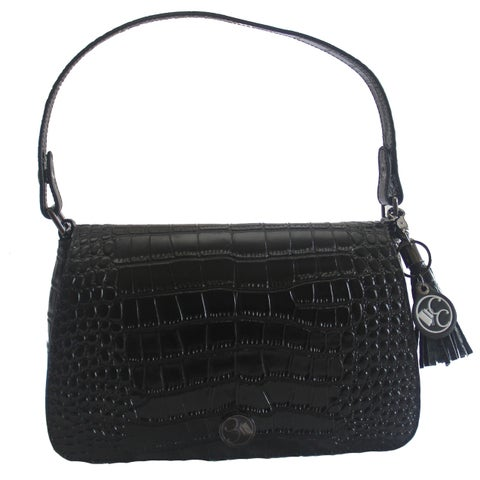 Concealed Carrie Concealed Firearm Classic Black Leather Crocodile Printed Clutch