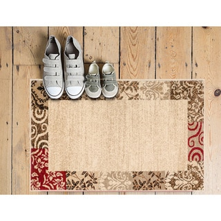 Vane Willow Damask Floral Border Ombre Gradient Beige, Red, Brown, and Ivory Area Rug (2'3 x 3'11)
