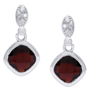 La Preciosa Sterling Silver Garnet Gemstone Earrings