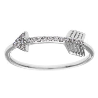 La Preciosa Sterling Silver White CZ Arrow Ring