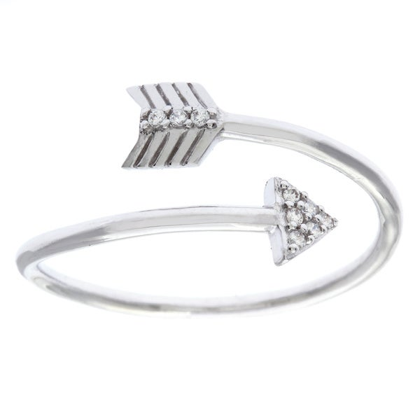 La Preciosa Sterling Silver White CZ Arrow Overlapping Ring