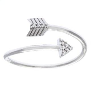 La Preciosa Sterling Silver White CZ Arrow Overlapping Ring (4 options available)