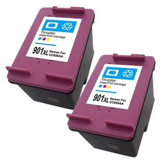 HP 901XL (CC656AN) High Yield Color Ink Cartridge (Remanufactured) (Pack of 2)