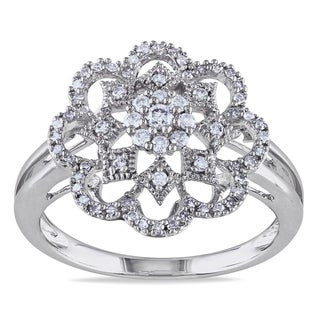Miadora 14k White Gold 1/3ct TDW Diamond Flower Fashion Ring