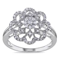 Miadora 14k White Gold 1/3ct TDW Diamond Flower Fashion Ring