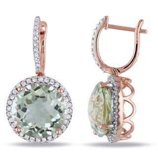 Miadora Signature Collection 14k Rose Gold Green Amethyst 1/2ct TDW Diamond Earrings (G-H, SI1-SI2)