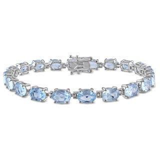 Miadora Sterling Silver 19ct TGW Blue Topaz Bracelet