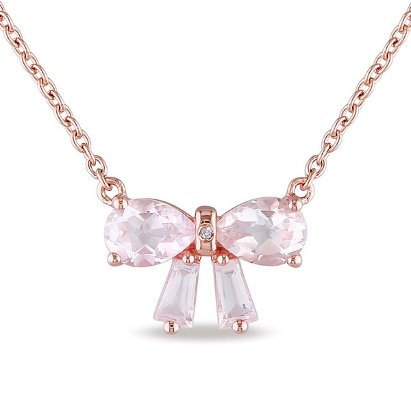 Miadora Rose Flash-plated Silver Rose Quartz/ Diamond Accent Bow Necklace