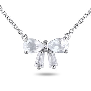 Miadora Sterling Silver White Topaz and Diamond Accent Bow Necklace