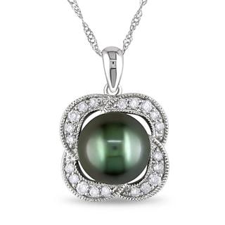 Miadora 10k White Gold Tahitian Pearl and 1/4ct TDW Diamond Flower Necklace (H-I, I2-I3)
