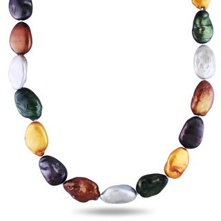 Miadora Sterling Silver Multi-color Cultured Freshwater Pearl Necklace (17-18 mm)
