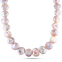Miadora Sterling Rose Plated Sterling Silver Pink Cultured Freshwater Pearl Strand Necklace (16-16.5 mm)