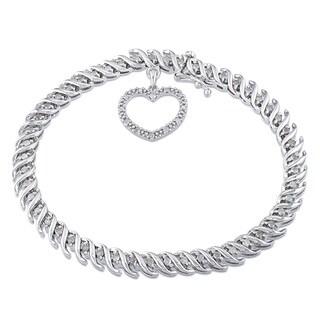 Miadora Sterling Silver 1ct TDW Diamond Heart Charm Bracelet (H-I, I2-I3)