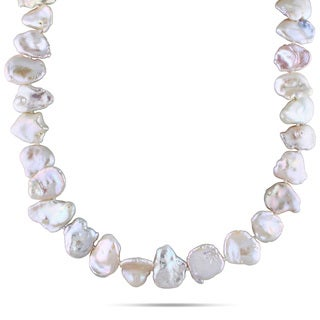 Miadora Sterling Silver White Cultured Freshwater Pearl Necklace (15-16 mm)