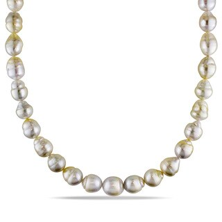 Miadora Signature Collection 14k Yellow Gold South Sea Baroque Pearl Necklace (9-12 mm)