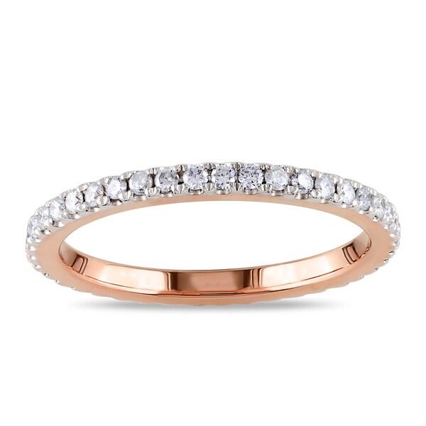 Miadora 14k Rose Gold 1/2ct TDW Diamond Eternity Ring (G-H, I1-I2)