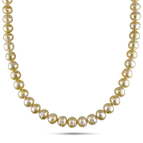 Miadora 14k Yellow Gold Golden South Sea Baroque Pearl Necklace (8-10 mm)