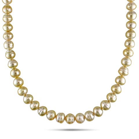 Miadora 14k Yellow Gold Golden South Sea Baroque Pearl Necklace (8-10 mm)