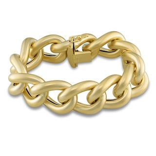 Miadora Signature Collection 14k Yellow Gold Satin Finish Link Bracelet
