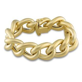 Miadora Signature Collection 14k Yellow Gold Satin Finish Link Bracelet|https://ak1.ostkcdn.com/images/products/8672316/Miadora-14k-Yellow-Gold-Satin-Finish-Link-Bracelet-P15928814.jpg?impolicy=medium