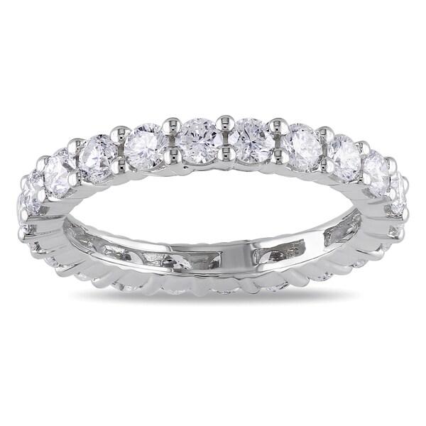 Miadora Signature Collection 14k White Gold 2ct TDW Certified Round Diamond Full Eternity Ring (G-H, I1, IGL)