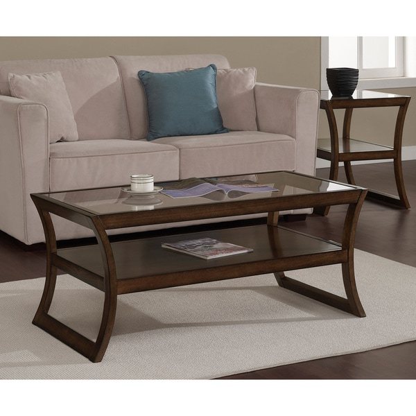 Rectangular Walnut Glass Top Coffee Table Free Shipping