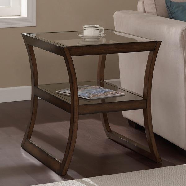 Shop Rectangular Walnut Glass-top End Table