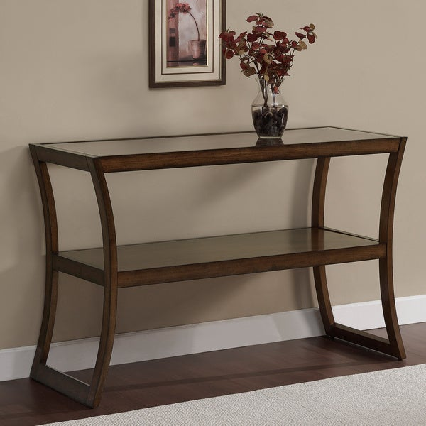Rectangular Walnut Glass-top Sofa Table