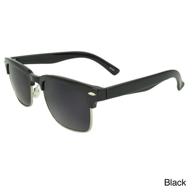 Epic Eyewear 'Sandalwood' Retro Half-rim Sunglasses