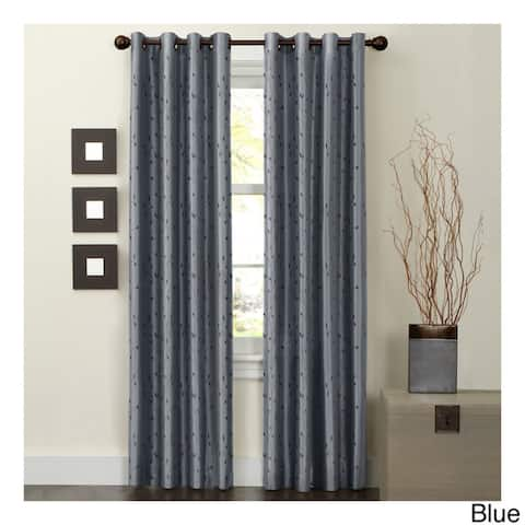 Maytex Jardin Thermal Blackout Room Darkening Faux Silk Embroidered Window 84-inch Curtain Panel - 54 x 84