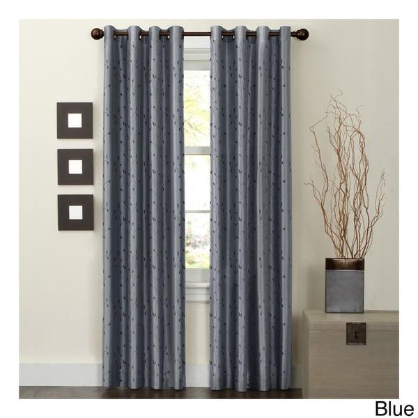 Maytex Jardin Thermal Blackout Room Darkening Faux Silk Embroidered Window 84 Inch Curtain Panel