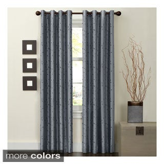 Maytex Jardin Thermal Blackout Room Darkening Faux Silk Embroidered Window 84-inch Curtain Panel - 54 x 84
