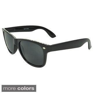 Epic Eyewear Women's 'Evanwood' Retro Rhinestone Sunglasses