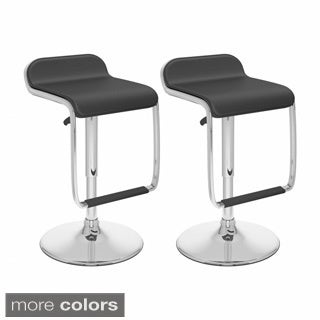 CorLiving Footrest in Leatherette Adjustable-height Bar Stools (Set of 2)