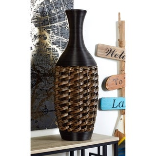 Rustic 32 x 11 Inch Rattan and Resin Coiled Vase by Studio 350