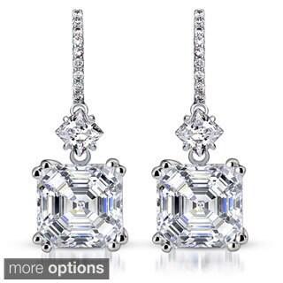 Collette Z Sterling Silver Cubic Zirconia Asscher Dangle Earrings