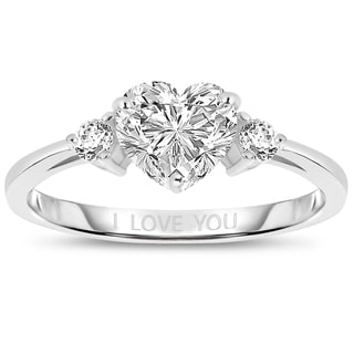 Collette Z Sterling Silver Heart 'I Love You' Ring