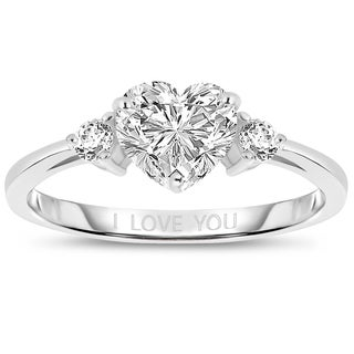 Collette Z Sterling Silver Heart 'I Love You' Ring - White