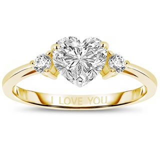 Collette Z Sterling Silver Heart 'I Love You' Ring - White (5 options available)